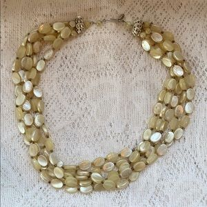 Pale Yellow Beaded Necklace
